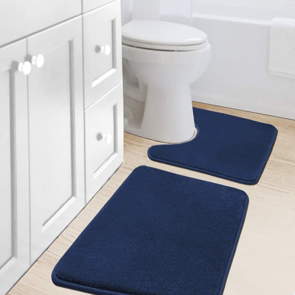 Bath Mat Memory Foam Set Bathroom Rug Set Flannel Velvety Bath Mat Luxury Extra Soft And Absorbent Non Slip Rugs For Bathroom Bedroom Washable Curved Set 20 X 32 Plus 20 X 20 U Navy