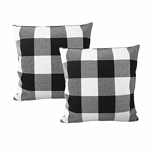 Ukeler 2-Pack Retro Farmhouse Tartan Checkered Throw Pillow Covers Buffalo Check Plaid Cotton Linen Decorative Cushion…