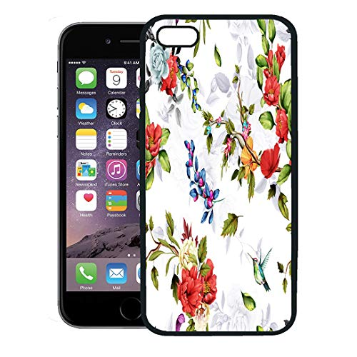 (Semtomn Phone Case for iPhone 8 Plus case Cover,Pattern Chinese Rose Peony Wild Flowers Pomegranate Buds Poppy and Humming Bird Around on White,Rubber Border Protective Case,Black)