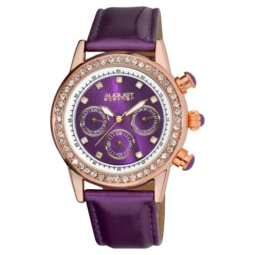 August Steiner Women's ASA818PU Mulitfunction Dazzling Strap Watch