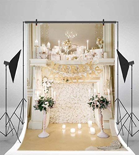 GoEoo 6x9ft Merry Christmas Background for Photography Lighting Candles Christmas Celebration Kids Girls Adults Family Portrait Backdrop Happy New Year Photo Booth Props