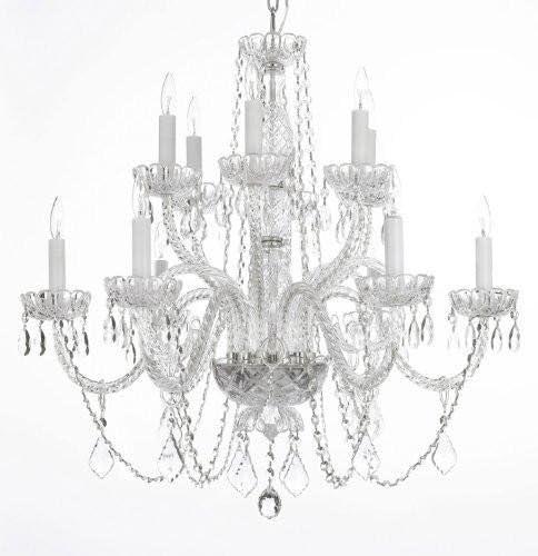 Chandelier Lighting Crystal Chandeliers H27″ X W32″
