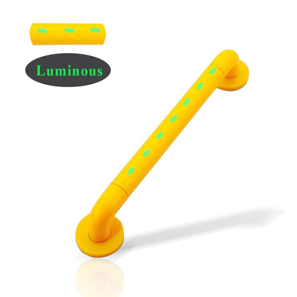 Shower Grab Bar Luminous Grip Handle Bar 15 inch Stainless Steel Anti-Slip Noctilucent Bathroom Bathtub Toilet Balance Assist Bar Handrail Arm Safe-Grip Bar for Elderly Helping