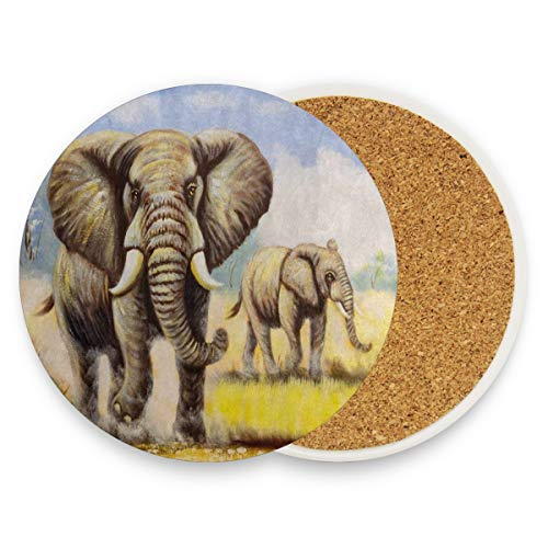 LoveBea Autumn Grass Elephant Art Coasters, Prevent Furniture from Dirty and Scratched, Round Cork Coasters Set Suitable for Kinds of Mugs and Cups, Living Room Decorations Gift Set of 4
