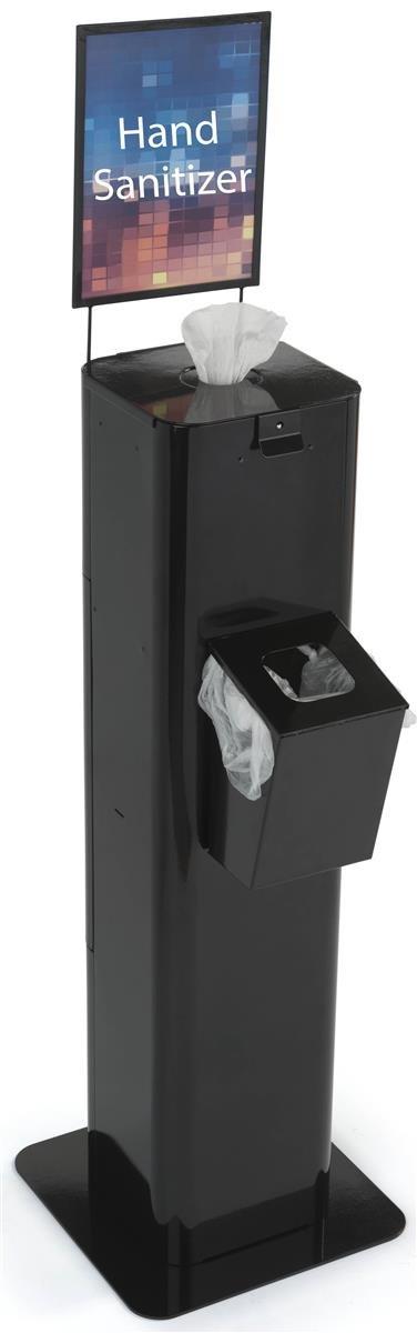 Displays2go Hand Sanitizer & Trash Bin Station, Concealed Storage, Sign Frame, Steel Build - Black (HDSZSD40BK) by Displays2go