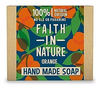 Faith in Nature Jabón de Manos Natural de Naranja, Detoxificante, Vegano y No Testado en Animales, sin Parabenos ni SLS, 100 g