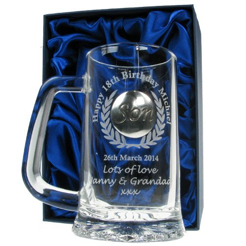 Mens 18th Birthday Gift Engraved Pint Glass Tankard With Solid Pewter Son Feature In A Satin Lined Presentation Box Gifts