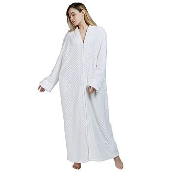 HGDR Albornoz Batas De Franela para Mujer Zip Up Toalla Bata De Baño para Damas Bata De Casa Ropa De Noche Longitud Total Disponible En 6 Colores,White-XL: ...