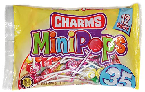 Charms (1) Bag Mini Pops Lollipop Candy - Assorted Fun Flavors - Peanut & Gluten Free 35pc per Bag 6.3 oz]()