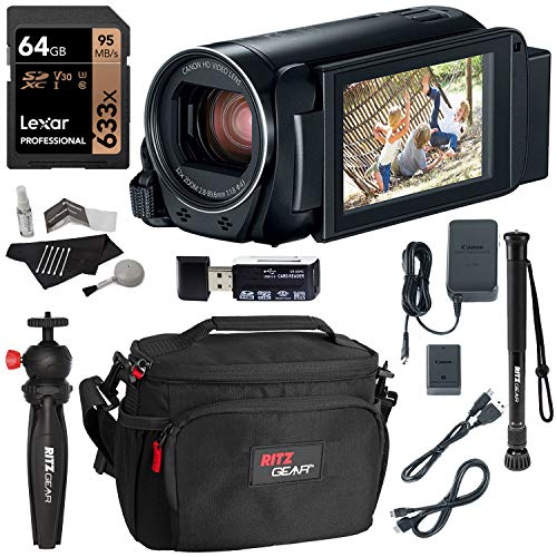 Canon Vixia Hf R800 A Camcorder Kit, Polaroid 32GB Class 10 SD Card, Lowepro Bag, Cleaning Kit, Ritz Gear Card Reader and Accessory Bundle