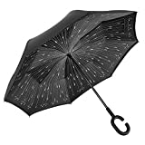 Double Layer Wind Proof,UV Proof, durable, self standing Proof Reverse Folding Inverted Umbrella Travel Umbrella with Hands free C Shape Handle (Meteor)
