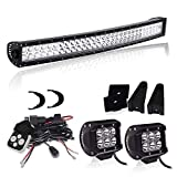 """DOT Certified - 180W 32/30 Inch Curved LED Light Bar & 2x 4""""Pods 18W Driving Fog Lights & Wiring Harness For Offroad Truck Ford Jeep Polaris Ranger Rzr Chevy Silverado GMC Nissan Boat Bumper Grill Lamps"""