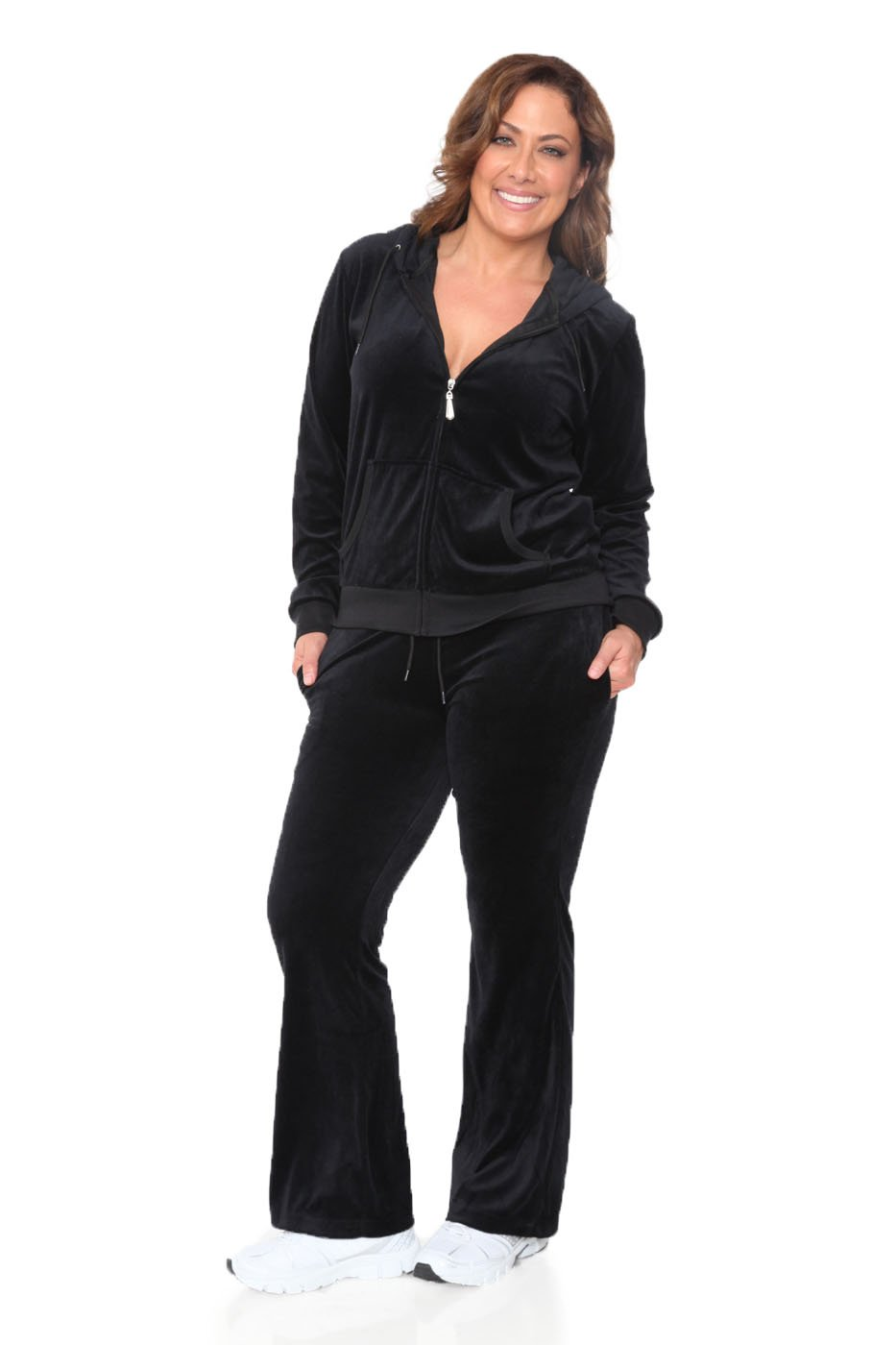 WM Plus Size Velour 2 Piece Set (Black, 2X)