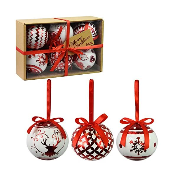 PMS Set di 6 Baubles di Natale di Lusso Decorazione Tradizionale dell'albero Natale Balls Festive Tema (Baubles Rosso Metallico) 1 spesavip