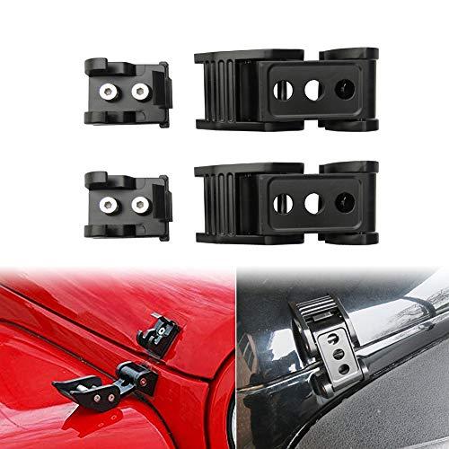 4 Door Hood - Vijay Stainless Steel Black Latch Locking Hood Catch Kit for Jeep Wrangler JK Unlimited Accessories 2 Door 4 Door 2007-2017 - Pair (Hood Lock)