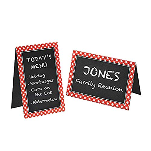 Gingham Labels - Delightful Picnic Party Red Plaid Chalkboard Tent Cards Decoration, Paper, 4