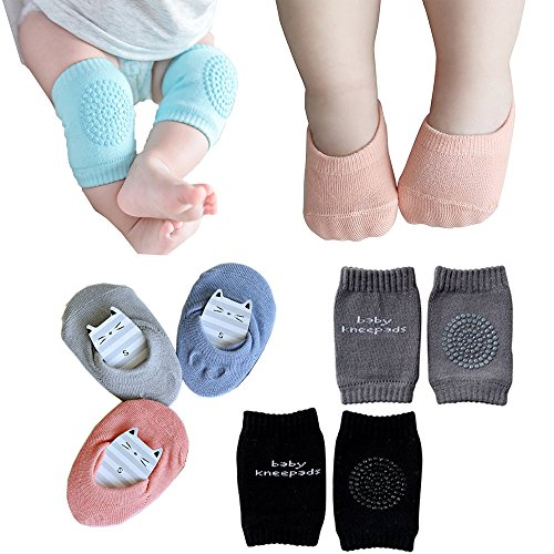 Baby Crawling Anti Slip Knee And Anti Slip Baby Boys Girls Socks Best Infant Gift  Unisex Baby Toddlers Kneepads 2 Pairs  Soft Cotton Assorted Boys Girls Grip Walkers Socks 3 Pairs  Black Dark Grey