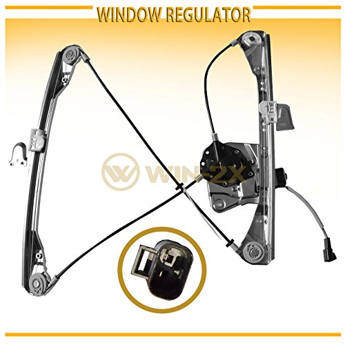 WIN-2X New 1pc Front Driver (Left) Side Power Window Regulator & Motor Assembly Fit 99-04 Oldsmobile Alero 99-05 Pontiac Grand Am 4-Door Sedan With Electric Window Lifters ()