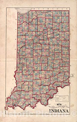 Historic 1876 Map | Illustrated Historical Atlas of Porter County, Indiana. | New Sectional Township Map of Indiana | Hardesty's Atlas of Porter Co, Indiana 28in x 44in