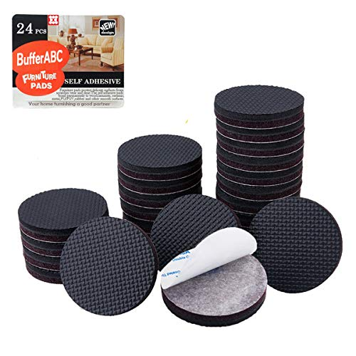 Non Slip Furniture Pads Floor Protectors 24-Pack 2'' Black Adhesive Rubber Anti Slide Furniture Grippers-Stop Sliding and Protect Surfaces, No More Scratched! (Round)