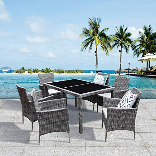 Solaste 7pcs Outdoor Furniture All-Weather Patio Porch Dining Table and Chairs Grey Wicker with Washable Cushions