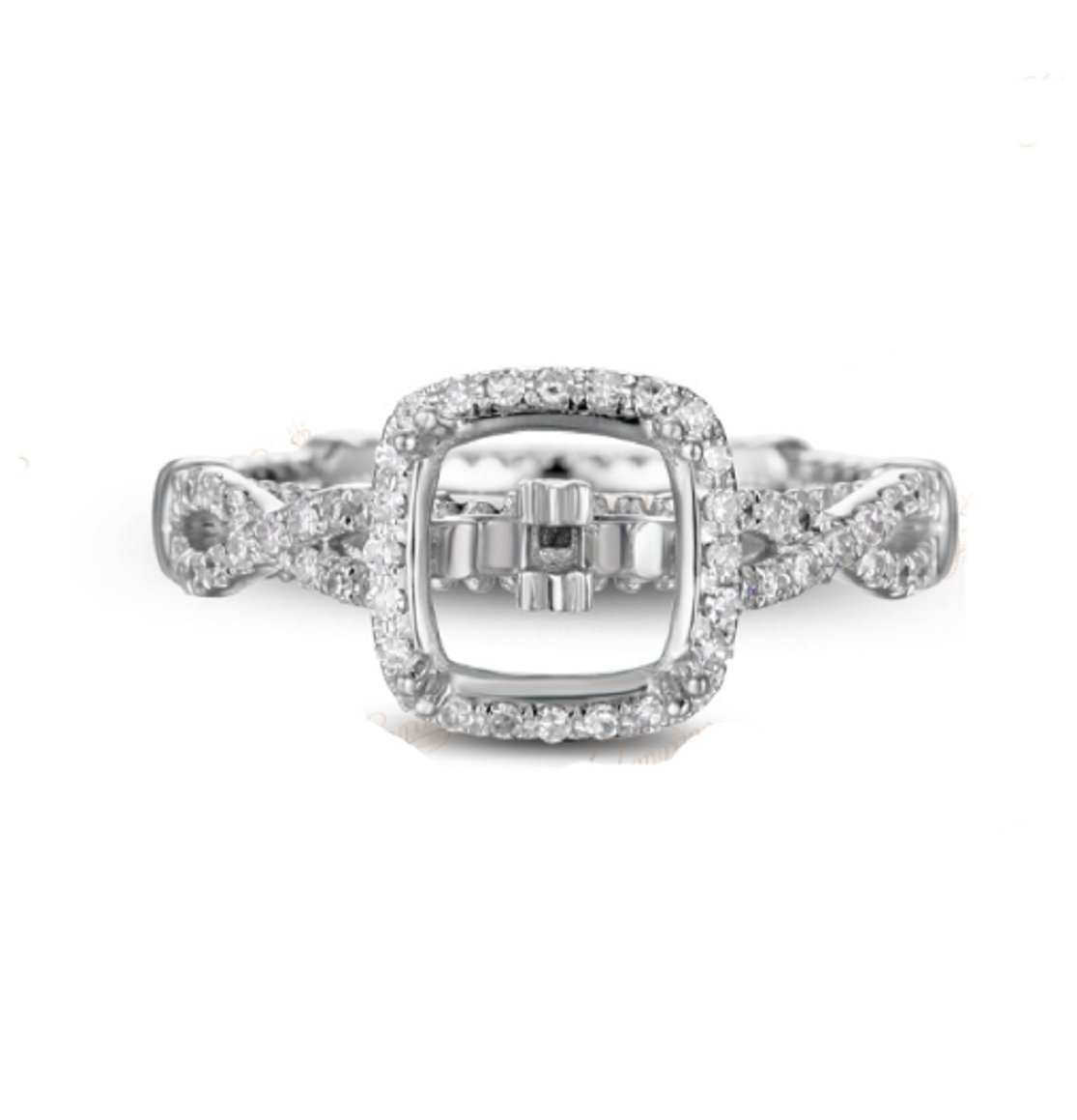 GOWE 7.5x7.5mm Cushion Cut Natural Diamond Solid 14K Two Tone Gold Semi Mount Ring by GOWE