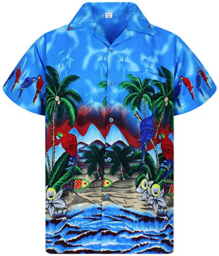 Funky Hawaiian Shirt, Parrot, blue, XXL ()