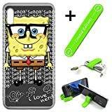 [Ashley Cases] for Galaxy [A10e][A10E] Cover Case Skin with Flexible Phone Stand - Spongebob Nerd G