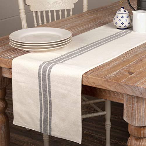 "Piper Classics Market Place Gray Grain Sack Stripe Table Runner, 13"" x 72"", Farmhouse Style, Gray and Cream Tabletop Décor"