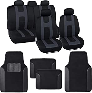 BDK Combo Sport Accent Car Seat Covers (2 Front 1 Bench) Auto Carpet Floor Mats (4 Set) with Heavy Protection Sleek Graphic Two Tone Fresh Design All Protective - Black Accent