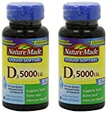 Nature Made Vitamin D3 5000IU 180 Softgels (Pack of Two 90ct. Bottles) Review