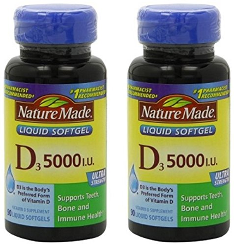 Nature Made Vitamin D3 5000IU 180 Softgels (Pack of Two 90ct. Bottles) (Nature Made Vitamin D3 5000 Iu compare prices)
