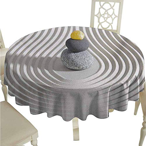 duommhome Spa Oil-Proof Tablecloth Three Hot Massage Stones in The Middle of The White Sand Shaped Waves Artwork Easy Care D35 Grey and ()