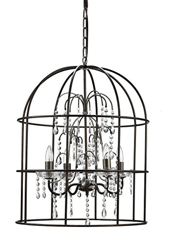 Creative Co-op Metal Birdcage Chandelier with 4 Lights Glass Crystals