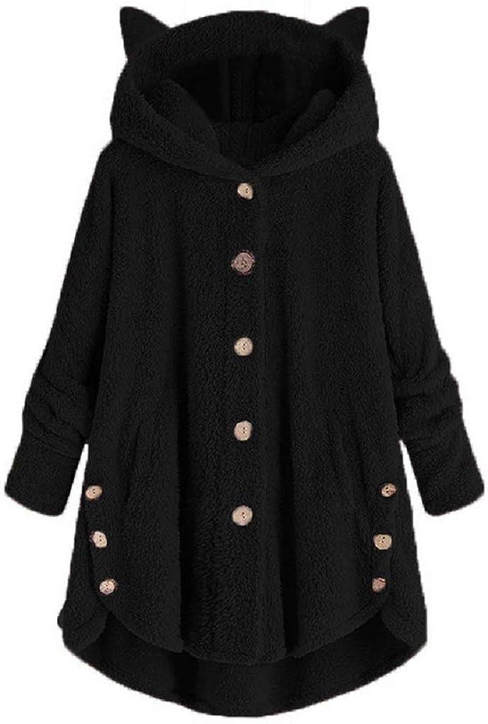 Fastbot Fleece Jacket Women Pullover Hoodie Fleece Hooded Sweatshirt Cat Ear Pocket Solid Warm Winter Oversized Outwear