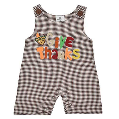Unique Baby Boys Give Thanks 1st Thanksgiving Jon Jon Overall Outfit (6 Months)