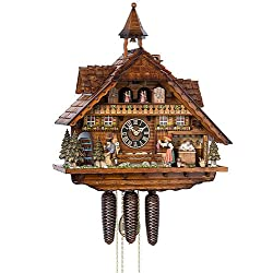 German Cuckoo Clock 8-day-movement Chalet-Style 22.00 inch - Authentic black forest cuckoo clock by Hönes