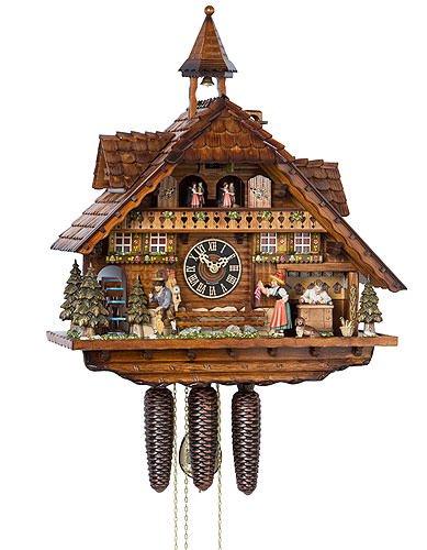 Alemán Reloj de cuco - estilo Chalet - mecanismo con cuerda para 8 días - 55