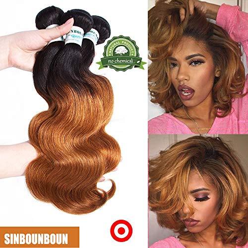Sinbounboun Hair Shoulder-lenght Ombre Brazilian Body Wave 3 Bundles with 12 Inch Clouser 1B T30 100% Virgin Hair Water Wave Weave 2 Tone Dark Brown Human Hair Extensions(14