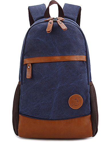 Leaper Causal Canvas Laptop Bag School Backpack Travel Bag (Royal Blue)