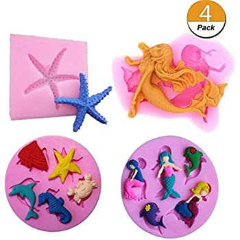 Chocolate Candy CIEHER 3 Pack Seashell Mold Mermaid Tail Mold Silicone Fondant Mold Chocolate Mold Soap Mold for Decorating Cakes