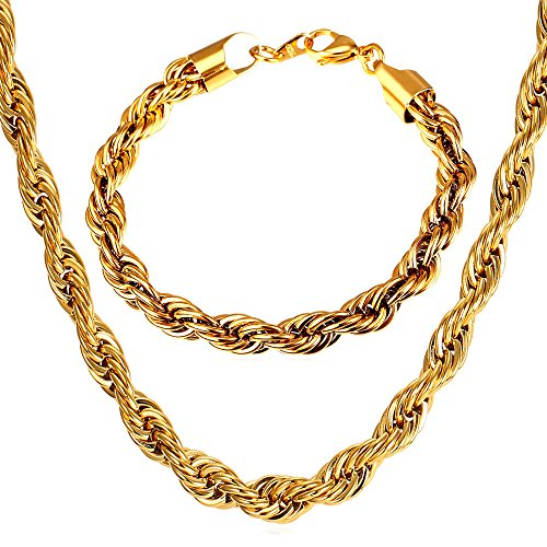 U7 Rope Chain 9mm Wide Thick Chunky Chains Necklace Bracelet Men Fashion Hip Hop 18K Gold Plated Jewelry Set (18