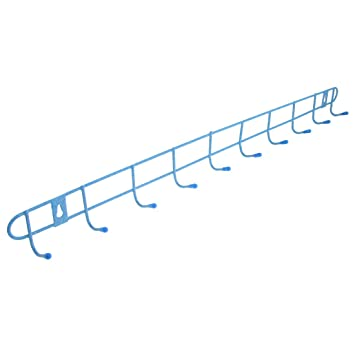 blue metal 10 hook rack towels clothes wall hanger - Clothes Wall Hanger