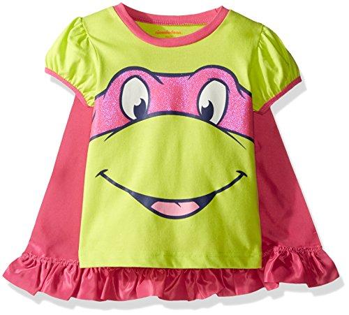 [Nickelodeon Little Girls' Toddler Teenage Mutant Ninja Turtle Cape T-Shirt, Green, 3T] (Tmnt Outfit)