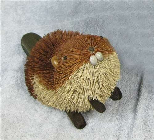Christmas Tablescape Decor - Brown Buri Brush Sitting Beaver Figurine by Brushart