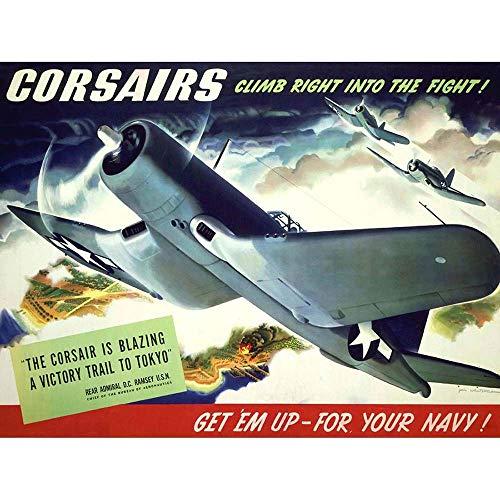 Wee Blue Coo Propaganda WWII War Corsair USA Navy Plane Unframed Wall Art Print Poster Home Decor Premium