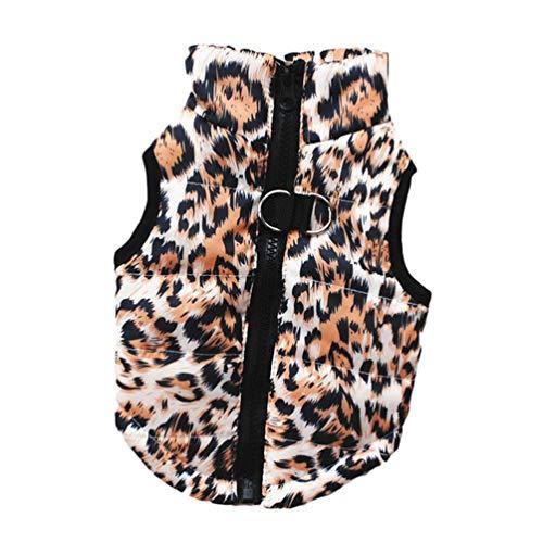 - Jim Hugh Dog Coat Jacket Leopard Skull Print Small Dog Clothes Winter Warm Puppy Vest Clothing