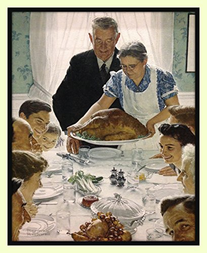Norman Rockwell Freedom From Want American Happy Family Thanksgiving Christmas Dinner Turkey Holiday Rockwell Double Matted Print 11x14 overall with 8x10 print