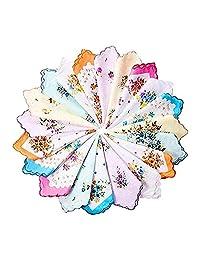 20 Pieces Women Vintage Floral Print Cotton Colorful Ladies handkerchiefs
