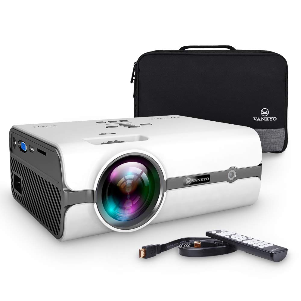 VANKYO Portable Projector with 2600 Luminous Efficiency, Support HD 1080P, Mini Projector with USB/SD/AV/HDMI/VGA Input. Come with Free Carrying Bag and HDMI Cable (White) Leisure 410